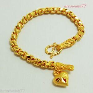 Chain 22K 23K 24K THAI BAHT YELLOW GOLD GP Bracelet Jewelry 7 inch