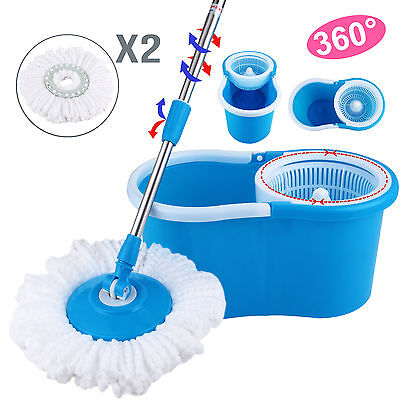 Microfiber Spinning Magic Spin Floor Mop With Bucket 2 Head 360  Rotating  Blue