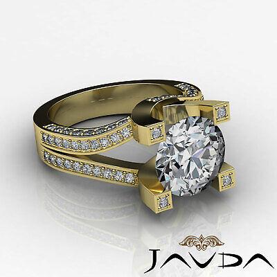 Trellis Style Split Shank Round Cut Diamond Engagement Pave Ring GIA I VS2 2.5Ct 8