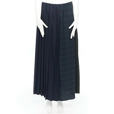 FACETASM green navy grey wool pleat panel check stripe midi skirt tricolour JP2