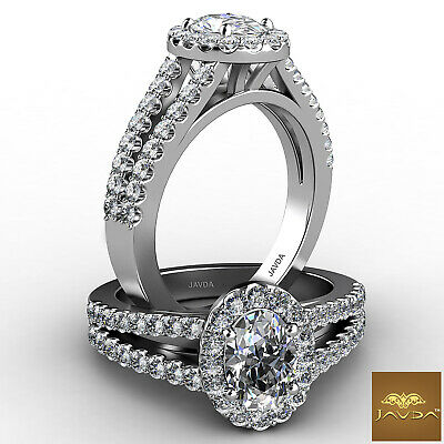 Halo Split Shank Oval Diamond Engagement French Pave Set Ring GIA F SI1 1.25 Ct