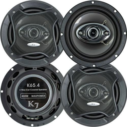 """2 Pairs - Audiotek K65.4 6.5"""" 400 Watts 3-Way Car Audio Stereo Coaxial Speakers"""