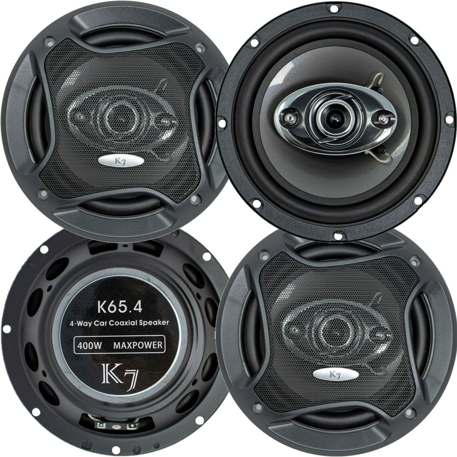 "2 Pairs - Audiotek K65.4 6.5"" 400 Watts 3-Way Car Audio Ster"
