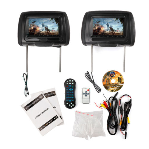 "Pair 7"" HD Car Digital USB TV IR SD Headrest Monitor Video HDMI Game DVD Player"