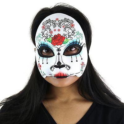 Women's Day Of The Dead Halloween Sugar Skull Half Face Eye Mask -
