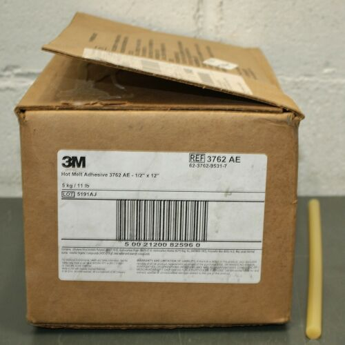 "(154) 3M Hot Melt Glue Stick 3762 AE, 1/2"" x 12"" L, for Cardboard, Foam, Wood"