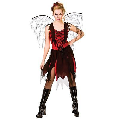 Adult GOTH VAMP FAIRY Ladies Halloween Party Fancy Dress Costume UK Sizes 6-28](Size 28 Ladies Halloween Costumes)