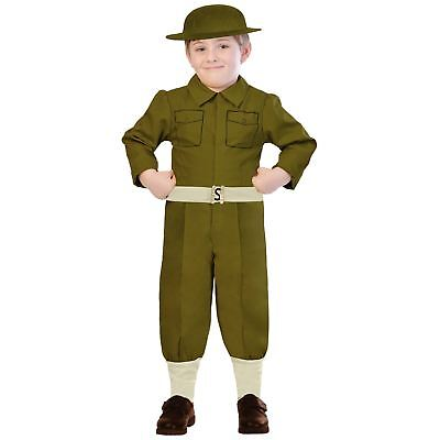 Kids Boys Wartime British Military Army Solider Fancy Dress Book Week Costume - British Army Costume