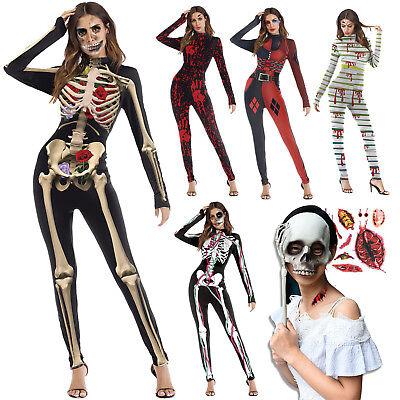Halloween Cosplay Party Costume Women Skeleton Bone Frame Jumpsuit Bodysuit Dead