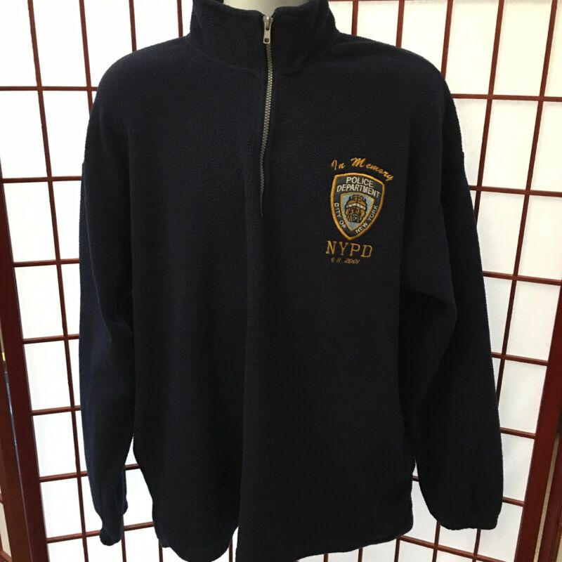 City Of New York Police Department  9/11 In Memoriam 1/4 Zip Fleece  XL Pullover