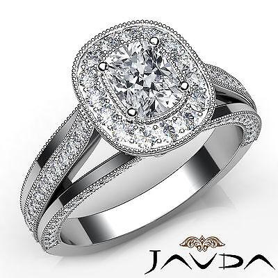 Halo Split Shank Milgrain Bezel Cushion Diamond Engagement Ring GIA E VS1 1.62Ct