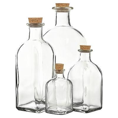 3 6 9 12 Glass Storage Bottle Jars Vials Cork Stopper Lid Kitchen Cruet Food Set