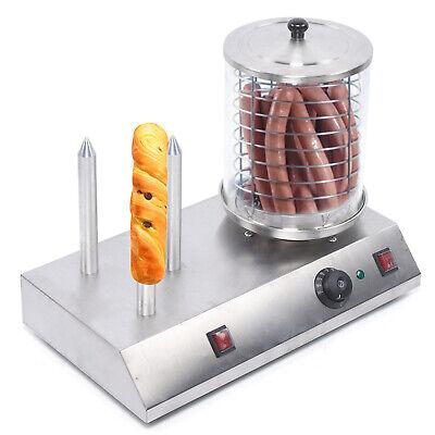 850w Cooker Sausage Bun Warmer Rollers Hot Dog Roller Electric Hot Dog Steamer
