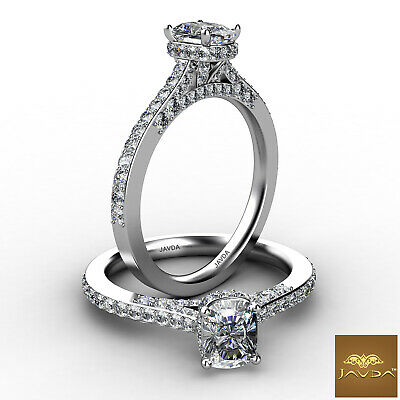 Cushion Diamond Pave Set Engagement Ring GIA Color E VVS2 18k White Gold 1.23Ct