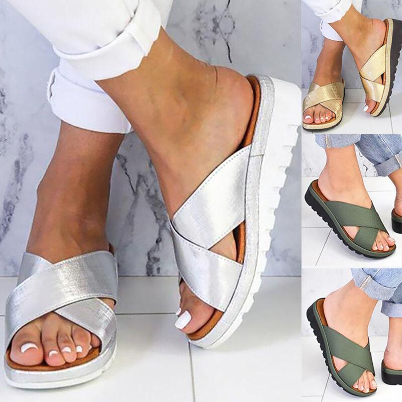 Damen Keilabsatz Hausschuhe Pantoletten Sommer Sandalen Slipper Schuhe Gr.36-43
