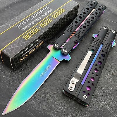 Tac Force Butterfly Replica Spring Assisted Rainbow Blade Outdoor Pocket Knife for sale  Shipping to Canada