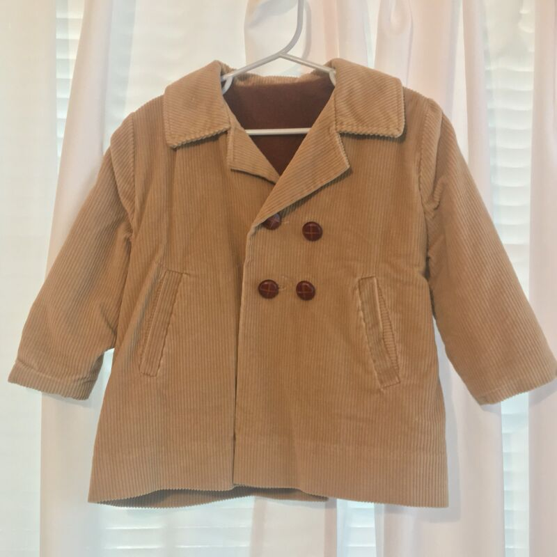Millicent's Corduroy Children's Vintage Peacoat Coat Jacket Tan Lined Aprox 2t