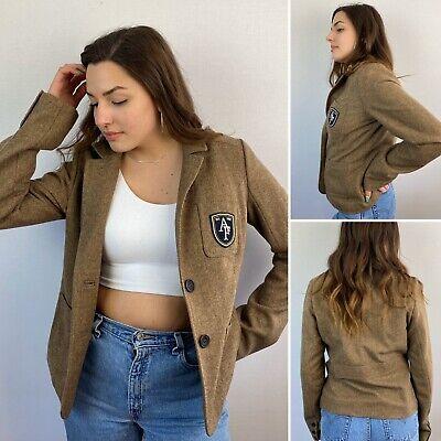 Abercrombie & Fitch Womens Herringbone Brown Wool Blazer Jacket Size Large