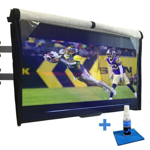 Outdoor TV Cover 32 - 85 with Front Flap and Soft interior + Free Screen Cleaner