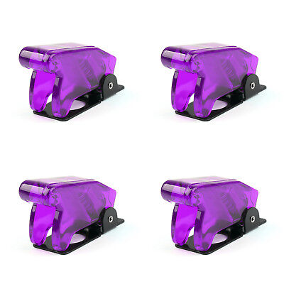 4pcs Toggle Switch Boot Plastic Safety Flip Cover Cap 12mm Clear Purple Ue