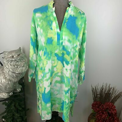 NATORI Tunic Top Shirt SMALL Blue Green Tropical 100% Rayon Cruise Wear NWT Cruise Top Shirt