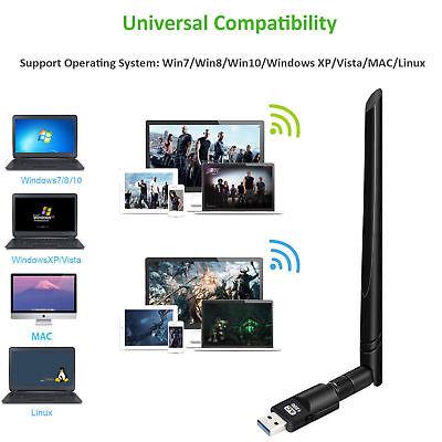 1200Mbps Dual Band Wireless USB WiFi Network Adapter 2.4/5Ghz w/Antenna 802.11AC