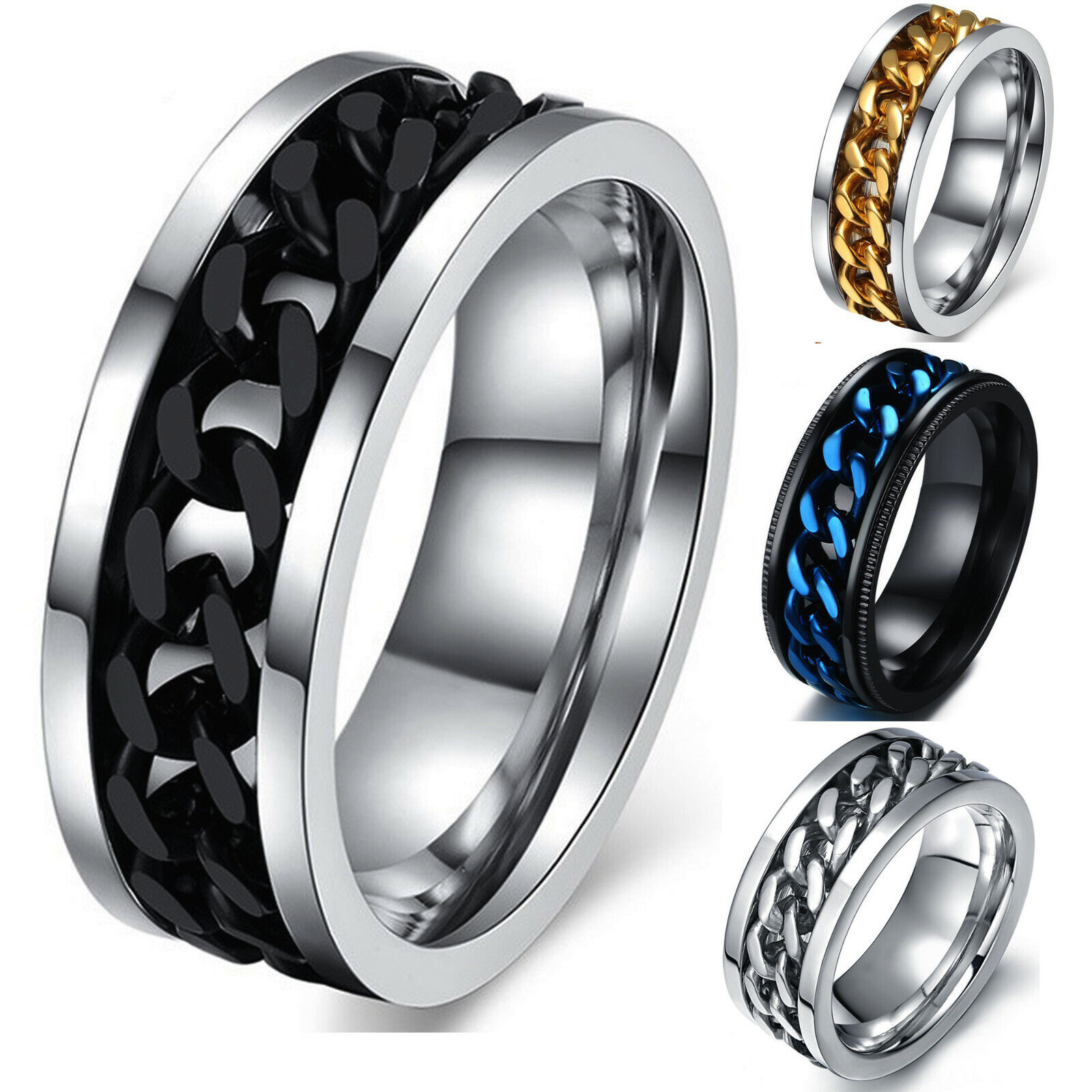 Men's Anxiety Spinner Ring Stainless Steel Curb Chain Wedding Band, Comfort Fit Jewelry & Watches