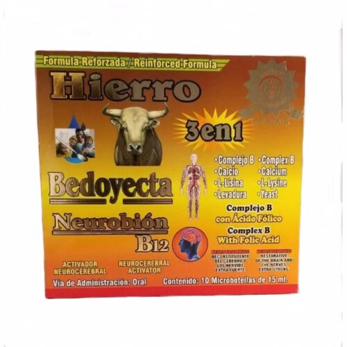 NEUROBION IRON BEDOYECTA HIERRO 10 Bottles 15ml ea Complex B 3 IN 1 suplemento.