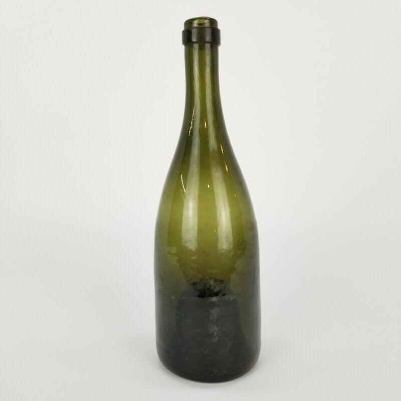 Antique Bottle Olive Green Wine Champagne Rhine Hock Hand Blown Glass pre 1900s