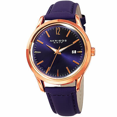 Women's Akribos XXIV AK921PU Purple Sunray Dial With Date Purple Leather Watch