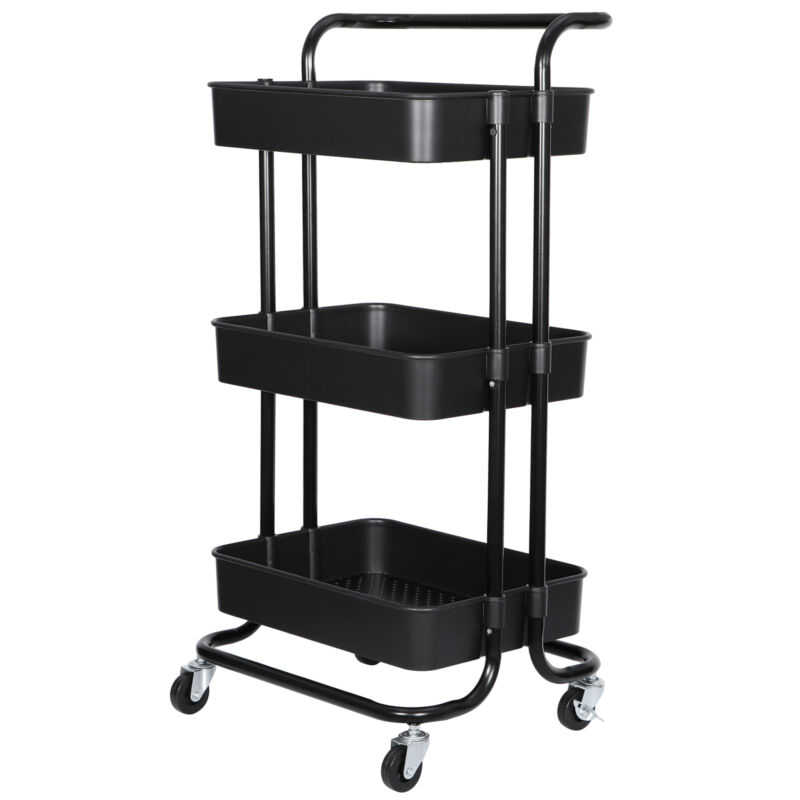 3-Tier Rolling Carts with Wheels Storage Organizer for Kitchen Bathroom Office