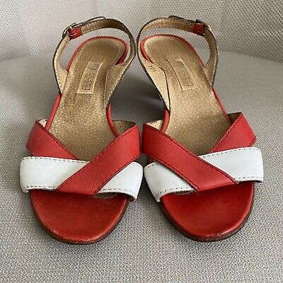 Gucci Vintage Made in Italy Sandal Red & White Heel Sz US 8.5 EUR 38.5 B Women's