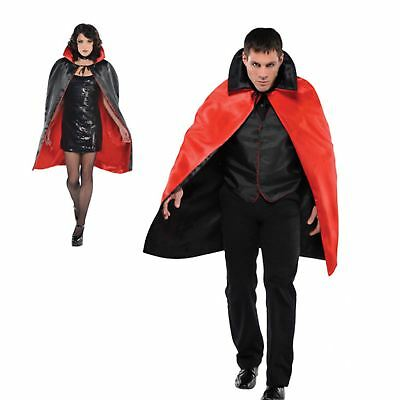 Adults Unisex Black Red reversible Vampire Dracula Cape - Satin Vampir Cape Kostüme