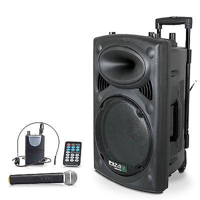 IBIZA Mobile Akku Sound Anlage PORT-12VHF Bluetooth USB MP3 SD Funkmikrofon 700W