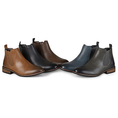 Territory Mens Faux Leather High Top Chelsea Dress Boots Regular and Wide-Width
