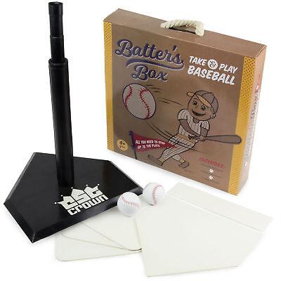 Batter's Box Baseball Set, T-Ball Pack - Batting Tee, 5 Bases, 2 Balls, & Case