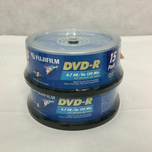 Fujifilm DVD-R RW Blank Discs 8x 4.7 GB 120 Min DVD Recordable Disc 30 Pack New
