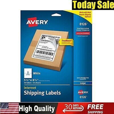 Avery Shipping Address Labels Inkjet Printers Half Sheet 25 Labels Printable New