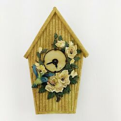 Birdhouse Wall Clock Resin Bluebird Magnolias Country Quartz