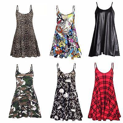 Leopard Print Cami (NEW WOMENS LADIES CAMO TARTAN LEOPARD PRINT CAMI SWING DRESS TOP PLUS SIZE 8-26)
