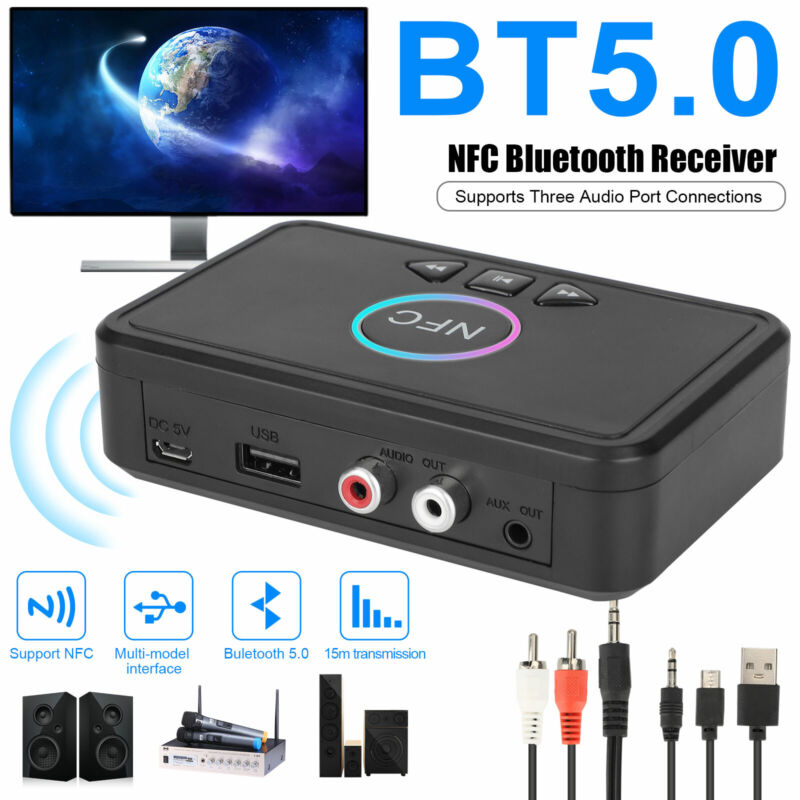 USB Bluetooth 5.0 Receiver Wireless 3.5mm AUX NFC to 2 RCA Audio Stereo Adapter