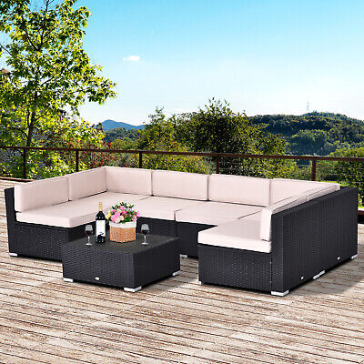 Outsunny 7pcs Outdoor Patio Furniture Set All Weather Wicker Rattan Conversation
