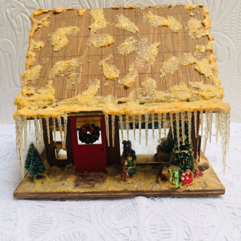 Antique Hand Made Folk Art Wood Village Christmas Cabin
