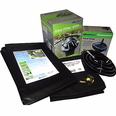 989 Gal / 4500 Litre garden pond kit. Liner, underlay, filter, pump & pipe inc.