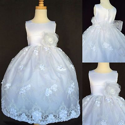 White Embroidery Dress ALL SIZES Communion Baptism Flower Girl Holiday #011