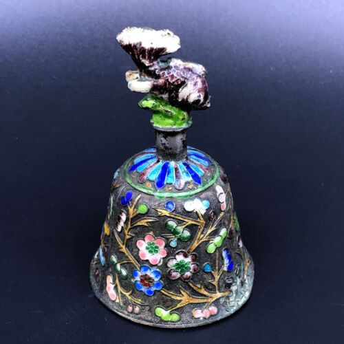 Antique Chinese Enameled Dinner Table Bell Figural Koi Handle
