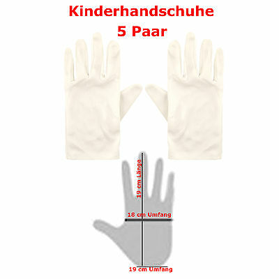 �r Kinder  weiß 19 cm Umfang Fasching Handschuhe weiss  (Paar Kostüme Für Kinder)