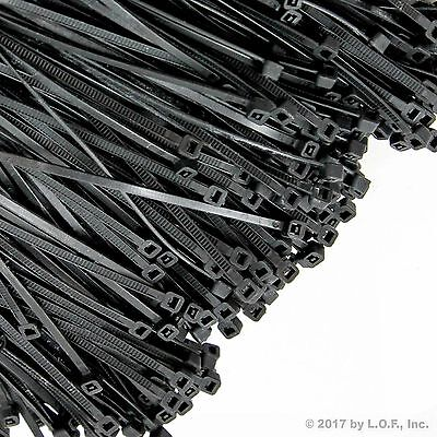 "1000 Black Zip Ties Heavy Duty 15"" 50 lbs Cable Cord Strap Wire Nylon Wrap Bulk"