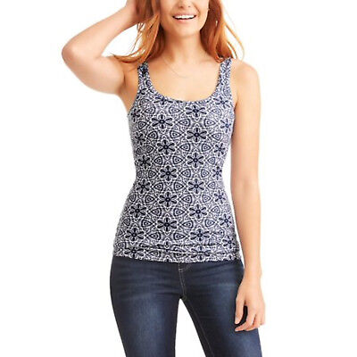 NEW Womens Time and Tru Sapphire Print Ribbed Classic Tank Top XS 0-2