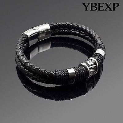 Bracelet - Men's Stainless Steel Leather Bracelet Magnetic Silver Clasp Bangle Black